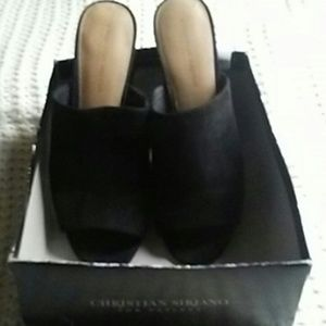 Black suede chunky heel shoes